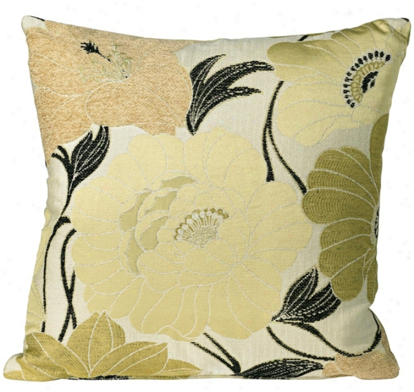 "Floral Zinnia Citron 18"" Square Down Throw Pillow (u1381)"