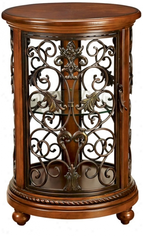 Florentine Round Wood And Iron Cjrio Cabinet (t0564)