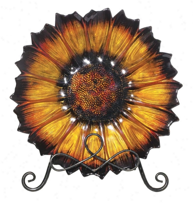 Flower Amber Glass Plate With Stand (43024)