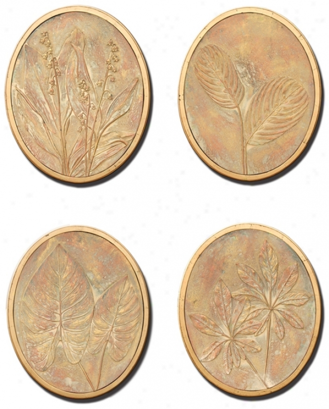 Flower And Fern Set Of 4 Decorative Wall Art Medallions (m0488)