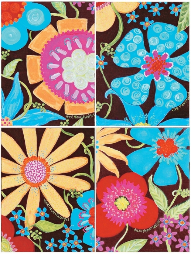 "Flowers And Fudge 16"" High 12"" Wide Set Of 4 Wall Art (p1414)"