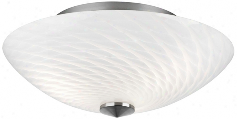 "Forecast Exhale 15 3/4"" Wide White Swirl Glass Ceiling Light (g5062)"