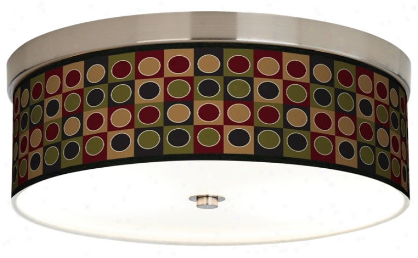 Forest Dotted Squares Giclee Energy Efficient Ceiling Light (h8796-k1386)