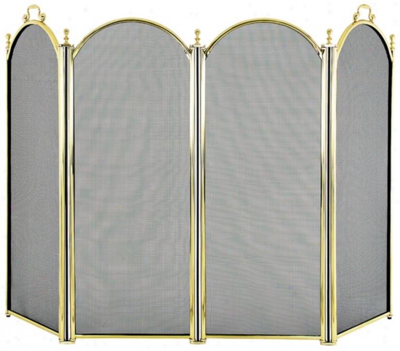 Four-fold Polishe dBrass Fireplace Screen (u9508)
