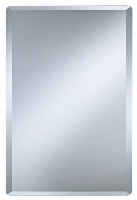 "Frameless Rectangular 30"" High Beveled Mirror (p1401)"