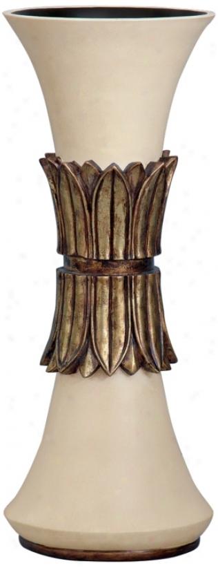 """Francisco Ivory Finish 18"""" Abstruse Vase (p2842)"""