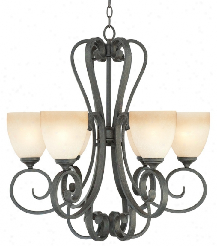 "Franklin Iron Works Amber Scroll 26"" Wide Chandelier (n1231)"