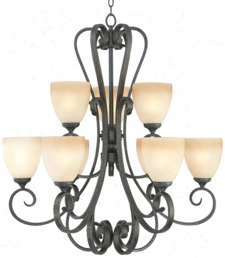 "Franklin Iron Works Amber Scroll 32"" Wide 9-light Chandelier (n1232)"