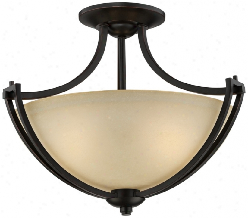 "Franklin Iron Works Bennington 18"" Wide Semi-flush Light (u4593)"