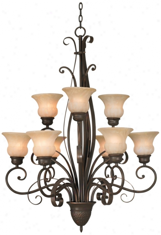 "Franklin Iron Worka Curled Ribbons 30"" Wide Chandelier (m1043)"