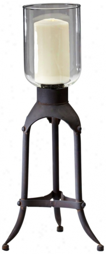 Franklin Raw Steel Iron Candle Holder (v0534)