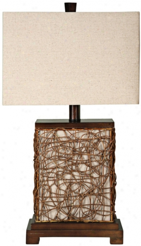 "Freeport Wood-rattan Witu Nightlight 27"" Elevated Table Lamp (u0089)"