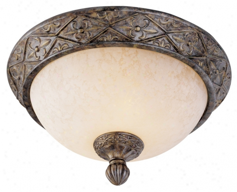 "French Bronze 13"" Wide Flushmount Ceiling Ligght Fixture (27387)"