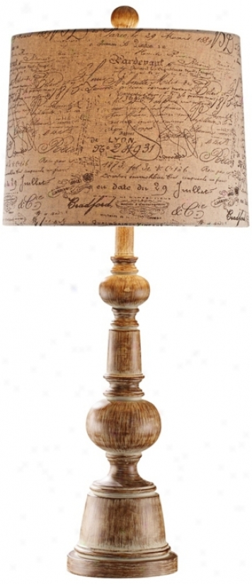 French Script Distressed Wood Table Lamp (r7505)