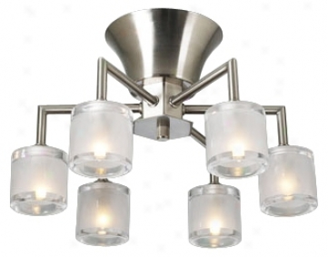 "Frosted Glass Six Light 15"" Wide Ceiling Light Fixture (h3830)"