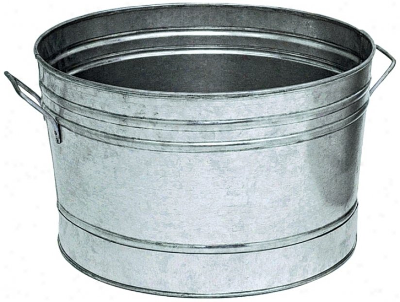 "Galvanized Steel 16 1/4"" Round Tub (u9779)"