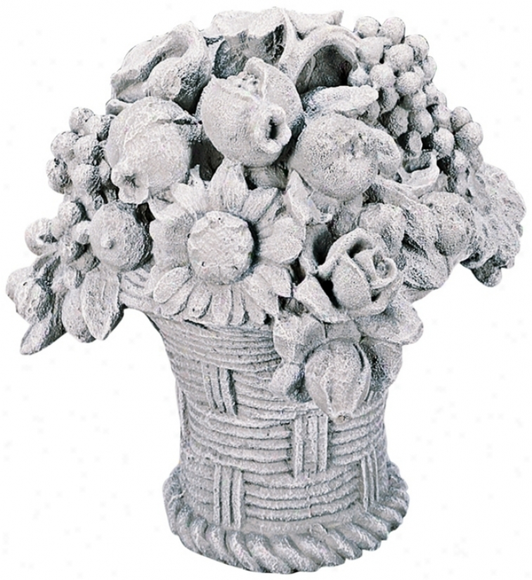 Garden Bouqiet Basket Stone Accent Sculpfure (30372)