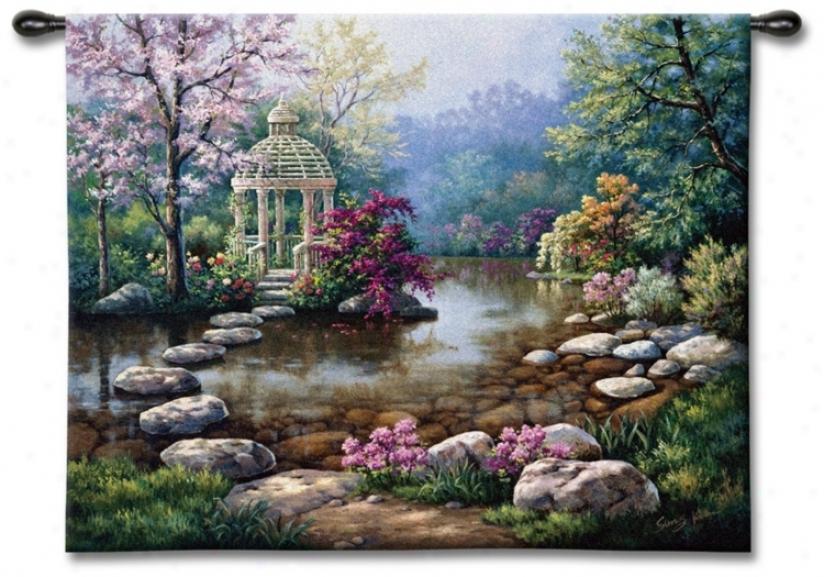 """Garden Gazeebo 53"""" Wide Wall Tapestry (j8933)"""