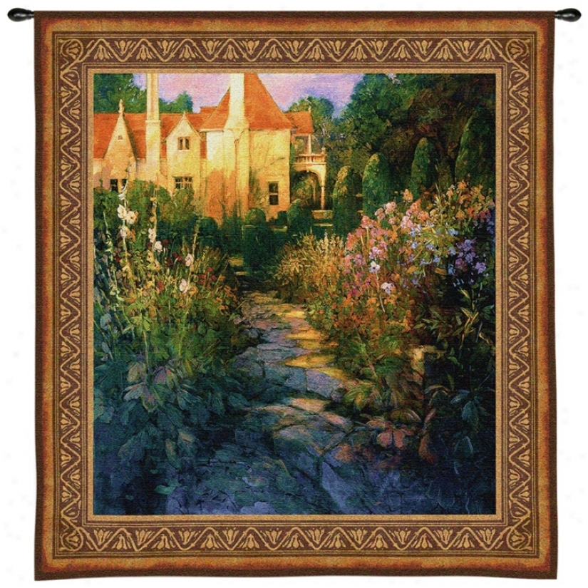 "Garden Walk At Synset 55"" High Wall Hanging Tapestry (j9013)"