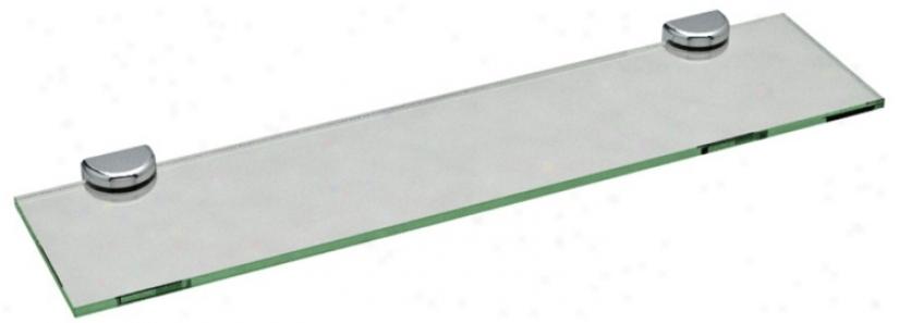 """Gatco Hotel Vogue Square Chrome 24"""" Wide Glass Wakl Shelf (u6531)"""