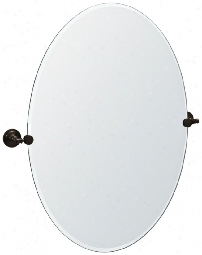 "Gatco Irvine Bronze Finish Oval  32"" High Tilt Wall Mirror (p8042)"
