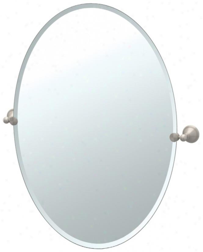 "Gatco Laurel Avenu Nickel 26 1/2"" H Oval Tilt Wall Mirror (p5369)"