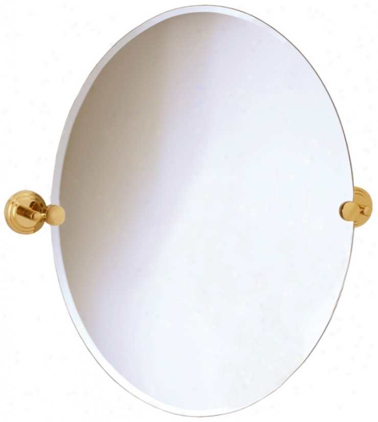 "Gatco Marina Brass Finish Oval 26 1/2"" High Wall Mirror (p7989)"