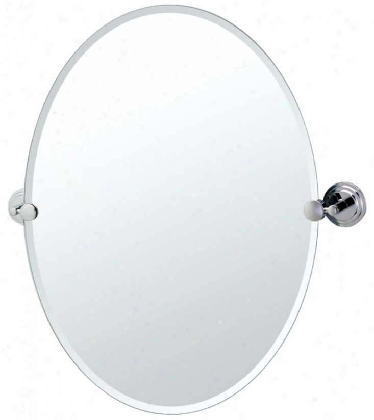 "Gatco Marina Chrome Oval 26 1/2"" High Tilt Wall Mirror (p7950)"