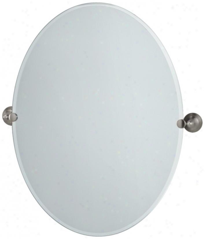 "Gatco Satin Nickel Charlotte 32"" Aloft Large Oval Mirror (p5339)"