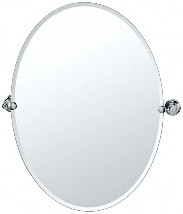 "Gatco Tiara Chrome 32"" High Frameless Oval Wall Mirror (p5330)"