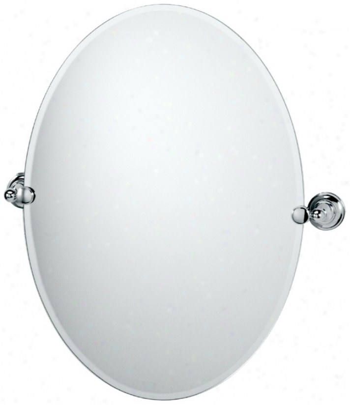"Gatco Tiara Polished Chrome 26"" 1/2 High Oval Mirror (p5331)"