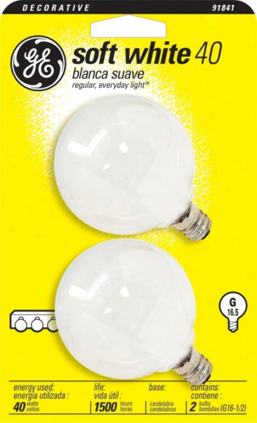 Ge 2-pack G16-1/2 Candelabra  Base 40 Watt Light Bulbs (91841)