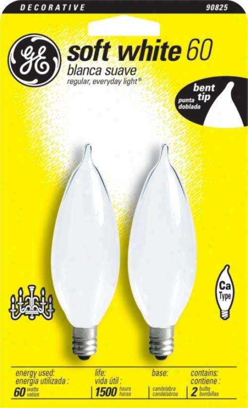 Ge 60 Watt Bent Tip 2-pack Candelabra Light Bulbs (90825)