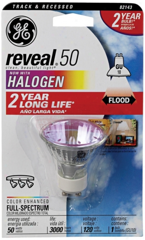 Ge Reveal 50 Watt Gu10 Halogen Light Bulb (34486)