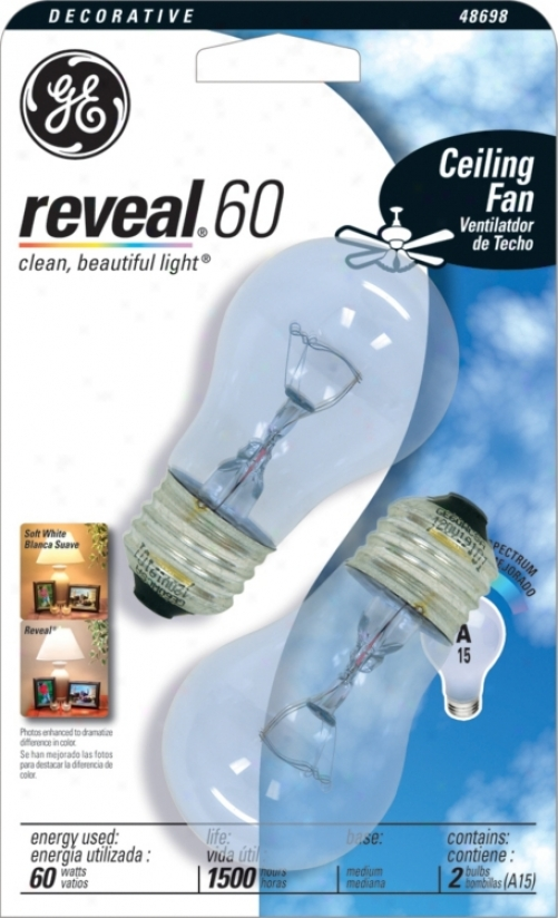 Ge Reveal 60 Watt Ceiling Fan 2-pack Clear Light Bulbs (30764)
