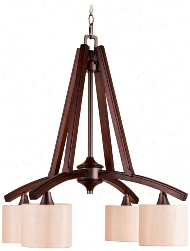 "Geller 4-light 27 1/4"" Wide Mahogany Forest Chandelie rLight (u8750)"