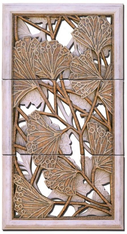 Ginkgo Leaf Set Of-3 Wall Art Panels (m0490)