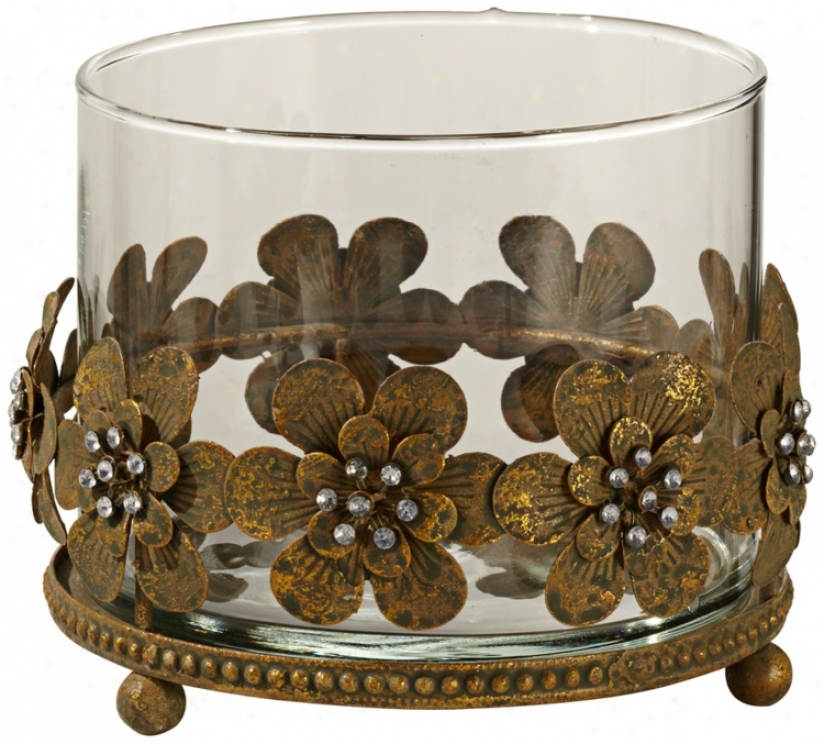 Glass And Rust Metal Flowers Pillar Candle Holder (t8856)