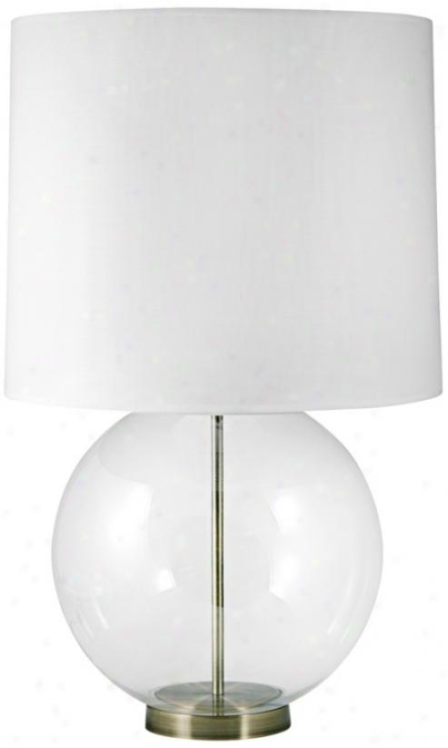 Glass Globe Bras sAccentstable Lamp (v2538)