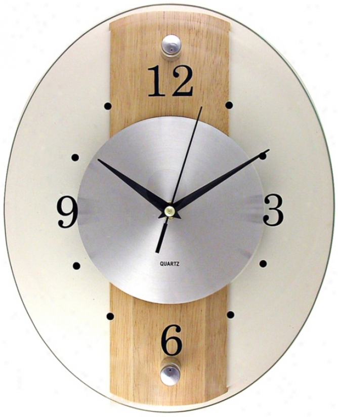 "Glass Wood Oblong 13"" High Wall Clock (03881)"