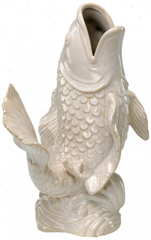Gloss White Ceramic Koi Fish Vase (v1262)