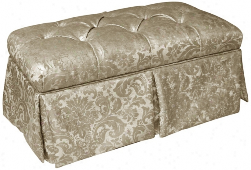 Glow Flax Metal Skirted Shantung Upholstered Storage Bench (w3971)
