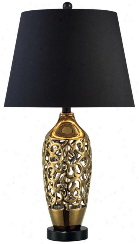 Gold Ceramic Openworrk Flat Lamp (r5519)