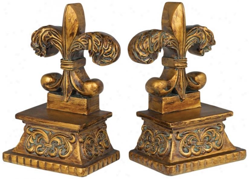 Gold Finish Fleur De Lis Bookends (n3078)