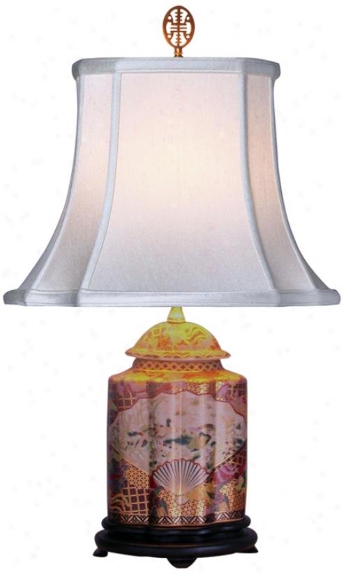 Gold Satsuma Scalloped Porcelain Tea Jar Table Lamp (g7088)