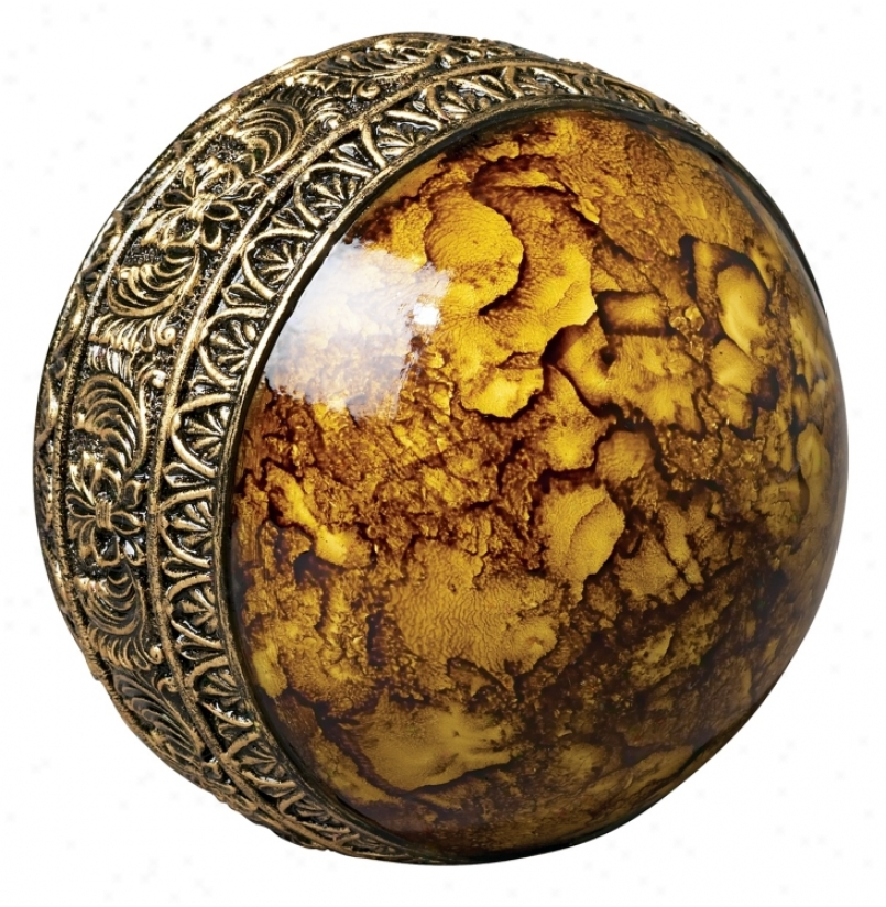 Gold With Gold Band Decorative Ball (k4669)