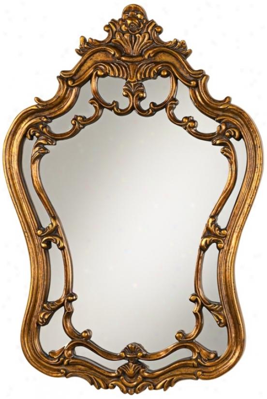 "Golden Bronze Crown 36"" High Wall Mirror (u6671)"