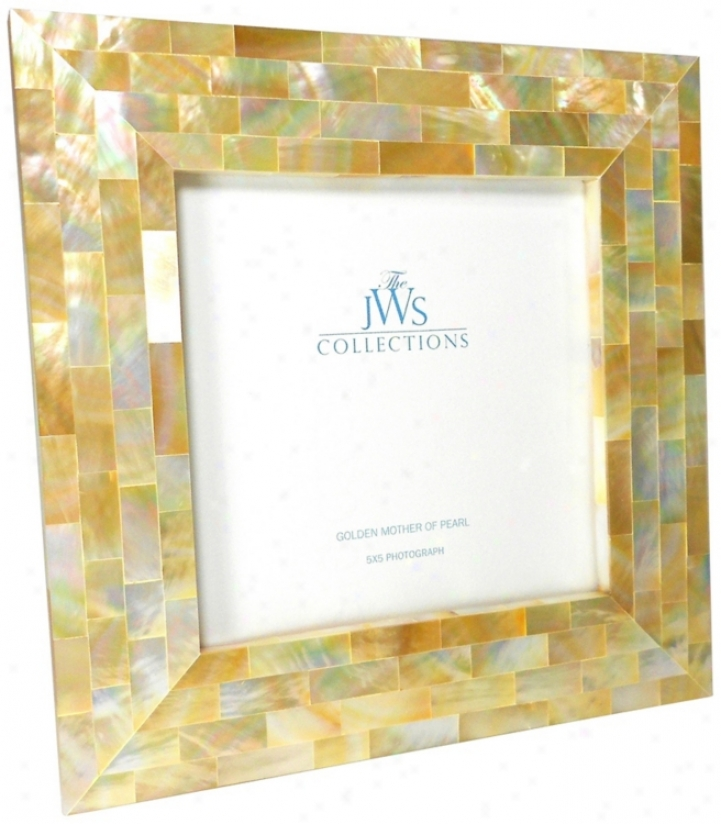 Golden Mother Of Pearl Oyster Shell 5x5 Picture Frame (w4983)
