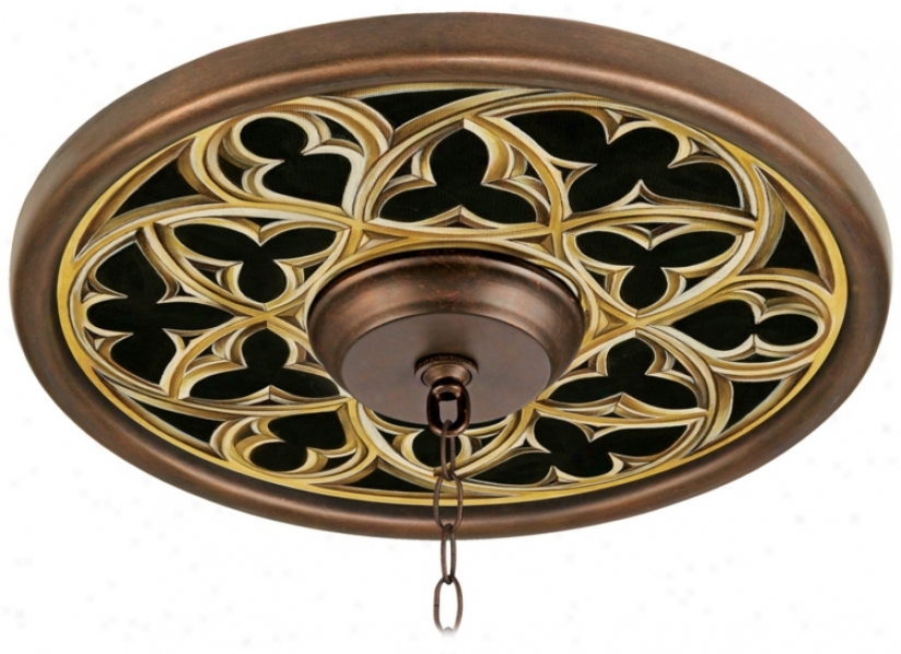 "Gothic Arch 16"" Remote Bronze Finish Cieling Medallion (02975-k3376)"
