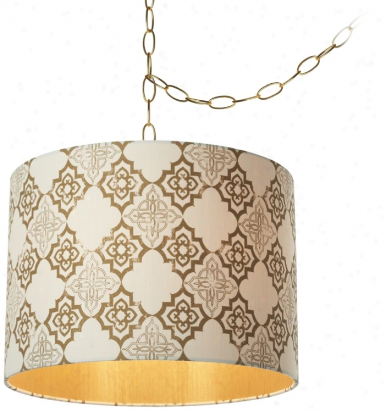 "Granada Polished Brass 14"" Wide Pendant Swag Light (u9729)"
